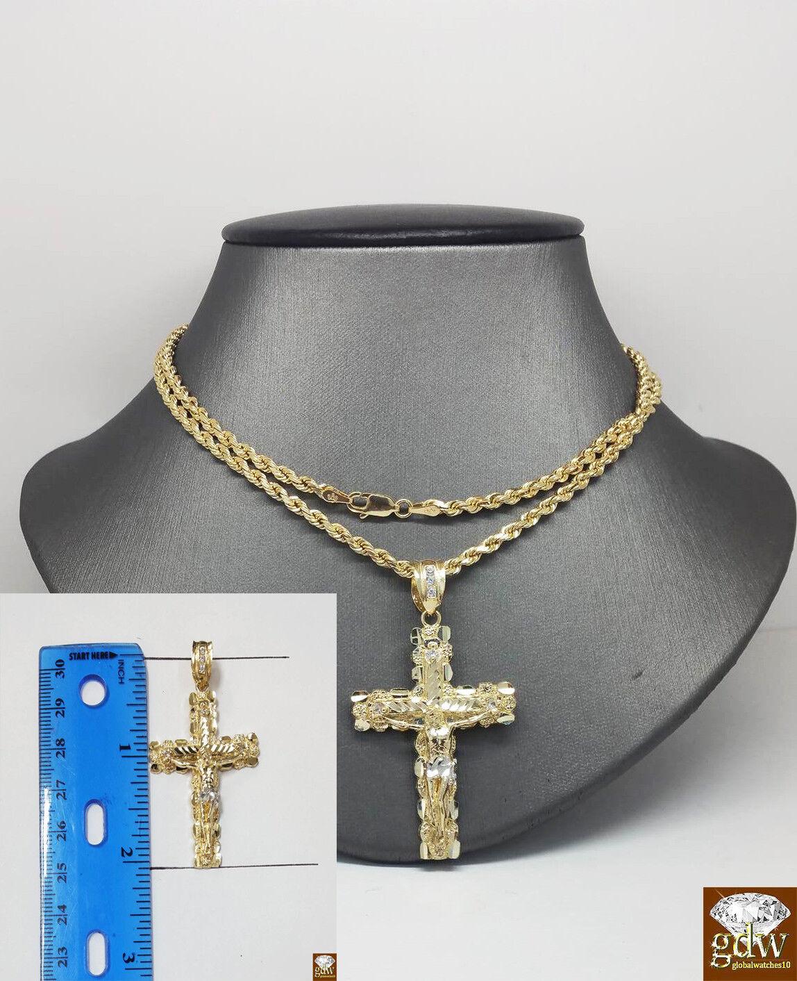 Men's Real 10K Gold Rope Chain 3mm, Jesus Cross Charm Pendan