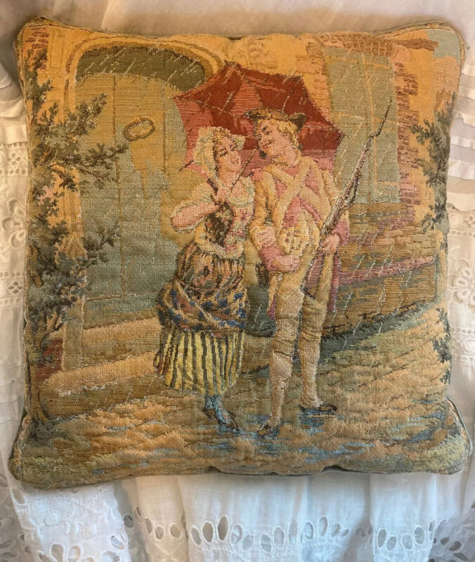 ANTIQUE 18th CENTURY FLEMISH BRUSSELS TAPESTRY PETITE PILLOW Exquisite Detail