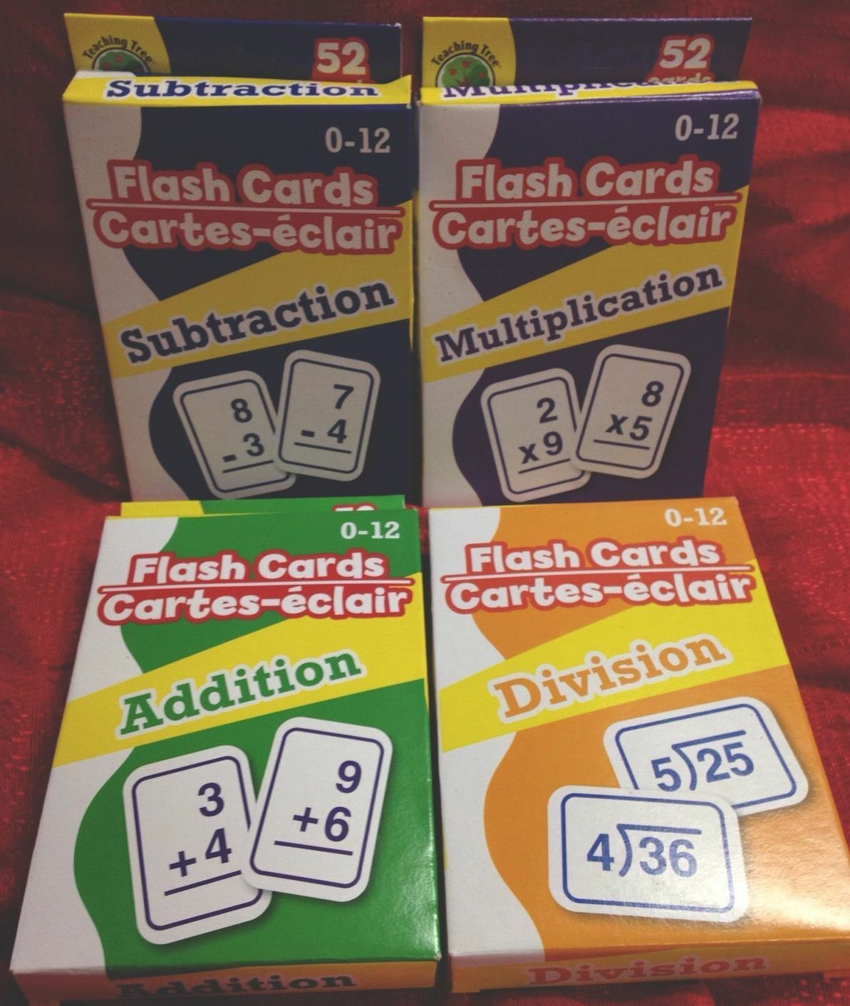 4 Packs Math Flash Cards Addition Subtraction Multiplication