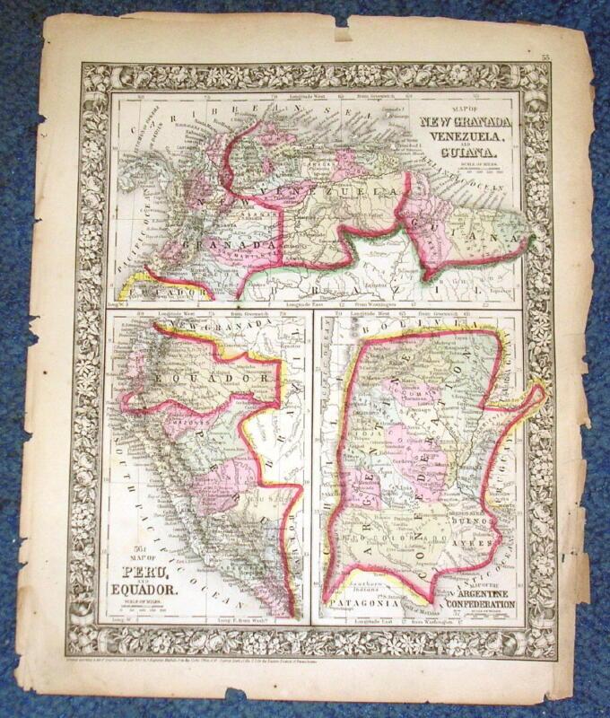 Origial1860 Mitchell Map of Argentine Peru Equador Venezuela Guiana New Granada