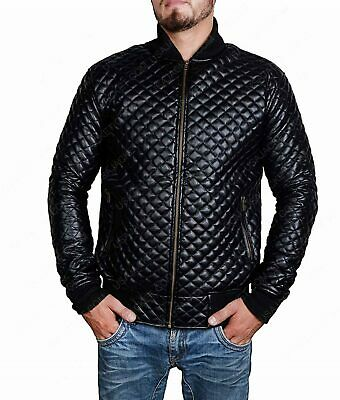 Black Quilted Mens Bomber Leather Jacket Boys Real Lambskin Stylish Casual Biker