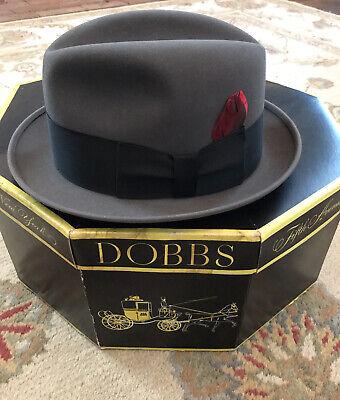 1950s Mens Hats | 50s Vintage Men's Hats 1950s Fedora DOBBS Hat 7 1/4 fur felt IN BOX Gray Grey Red Feather Black Band $69.95 AT vintagedancer.com