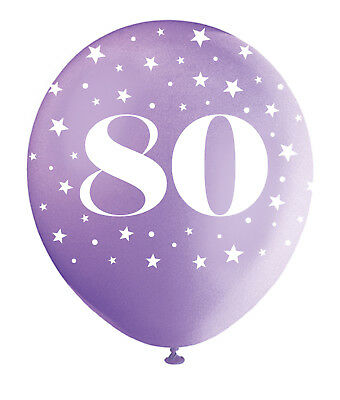 Pearlised Assorted Colour 80th Birthday Age 80 Latex Balloons Decorations 5pk (80th Birthday Color)