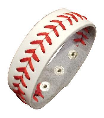 Leather Baseball Bracelet Jewelry, White Baseball Cuff Bracelet with 3 - Baseball Bracelets