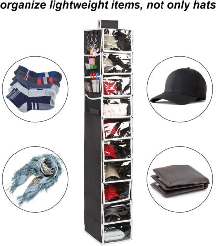 Boxy Concepts Hat Rack - 10 Shelf Hat Organizer for Caps with Dust Shield