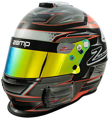 ZAMP RZ-44CE Carbon Fiber FIA8859 Snell SA2015 Auto Racing Helmet Orange Graphic Racing Carbon Fiber