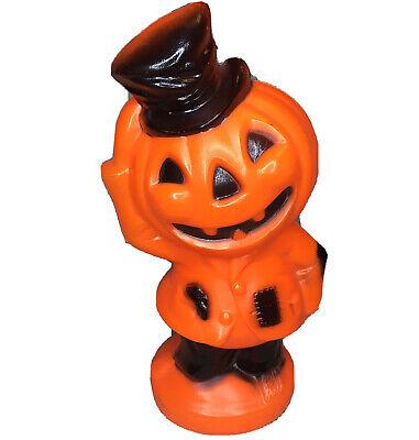 "Vtg Halloween Blow Mold Empire Scarecrow Pumpkin Head Jack O Lantern Light 14"""