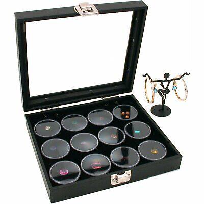 Glass Top Jewelry Display Case 12 Gem Jar Insert Bonus
