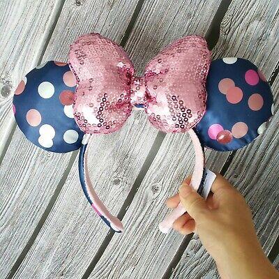 Disney Parks Satin Polka Dot Mickey Minnie Blue Pink Suquins Ears Headband NEW - Polka Dot Headband