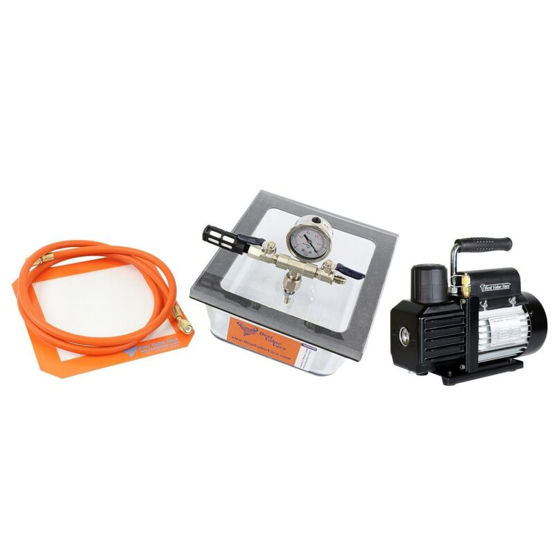 BVV 2.75 Quart Pyrex Vacuum Chamber and VE115 3CFM Single Stage Vacuum Pump Kit