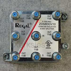 Regal 8-way High Performance Coaxial Splitter Signal ZDS8DGV10 Cable TV HD