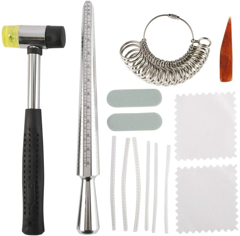 Ring Sizer Mandrel Tools Set Jewelry Making  Kits With Two Sides Rubber Hammer