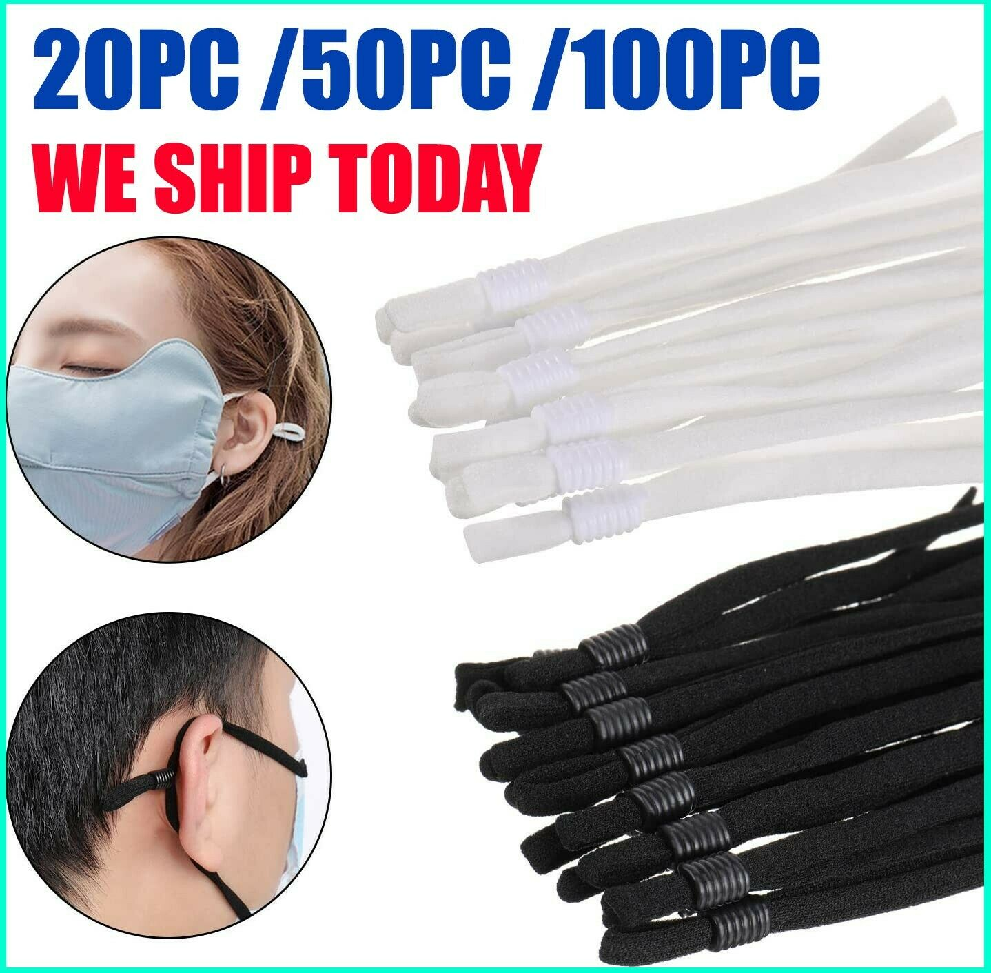 20-100 Sewing Elastic Band Cord with Adjustable Buckle for DIY Mask Sewing USA