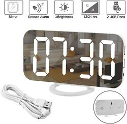 Mirror Electronic LED Digital Alarm Clock, Light,  Display, Dual USB, Decoration