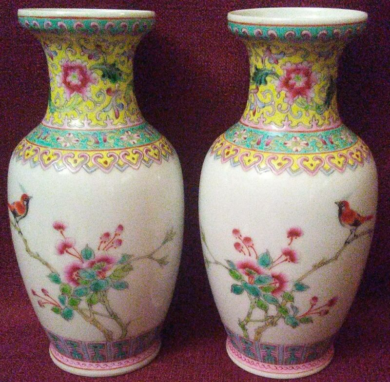 Antique Chinese Famille Rose Hand Painted, Signed Vases
