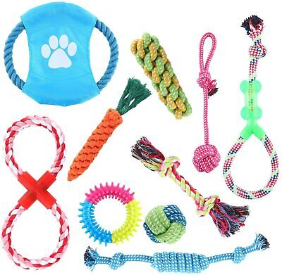 10Pcs Dog Rope Toys Braided Rope Chew Play for Aggressive Chewers lot Ball Toys