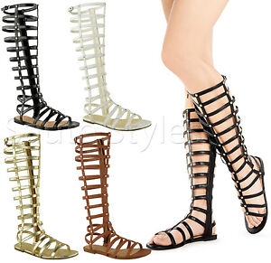 Ladies-Womens-Knee-High-Cut-Out-Flat-Strappy-Gladiator-Summer-Sandals-Shoes-Size
