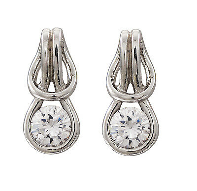 Sterling Silver Smooth Rope Love Knot CZ Drop Earrings Chic Sterling Silver Love Knot