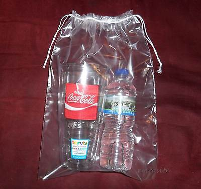10 Qty 10 X 14 Double Drawstring Clear Poly Plastic Bags 2mil Reusable/durable