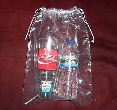 100-10x14 Double Drawstring Clear Poly Plastic Bags 2mil Reusable/high Clarity