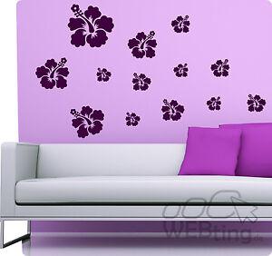 Ibisco adesivo murale set decorativo fiori sticker - Adesivo murale finestra ...