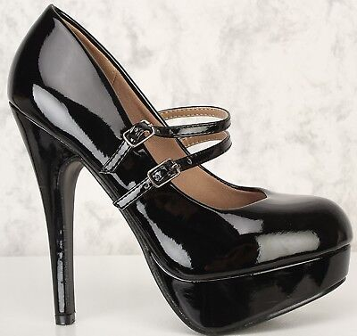 Double Platform (Black Pat Closed Round Toe Double Buckle Strap Platform Stiletto High Heel)
