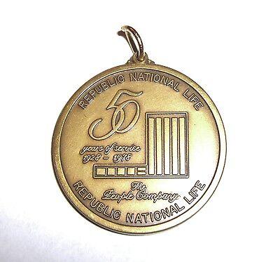 1978 Republic National Life 50th Anniversary Coin Pendant Dallas TX Texana