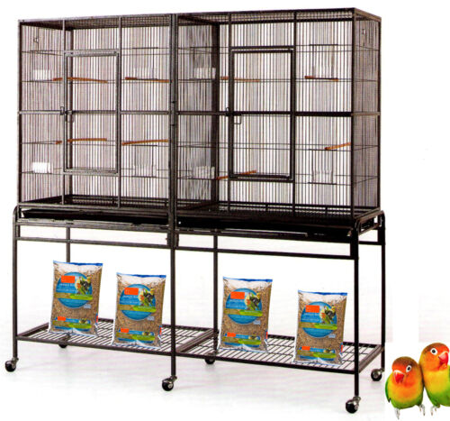 "64"" LARGE Double Flight Breeding Canaries Aviary Cockatiel Budgie LoveBirds Cage"