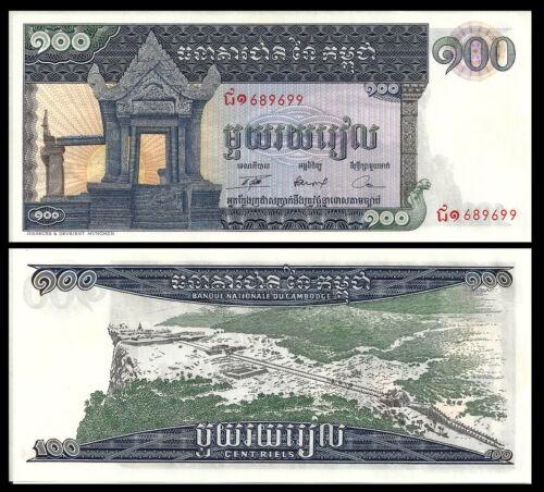 CAMBODIA 100 RIELS 1963-72 P 12 UNC LARGE BANKNOTE Prea Vihear Temple