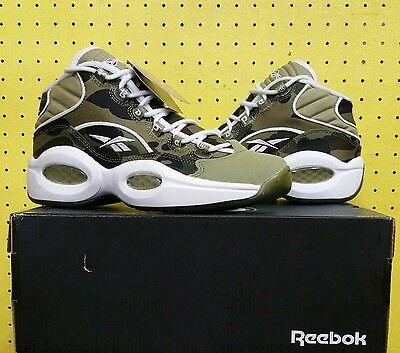 NEW Men's Reebok Question Mid Shoes Sz 7.0 Bape Camo White Grey BD4232 Iverson