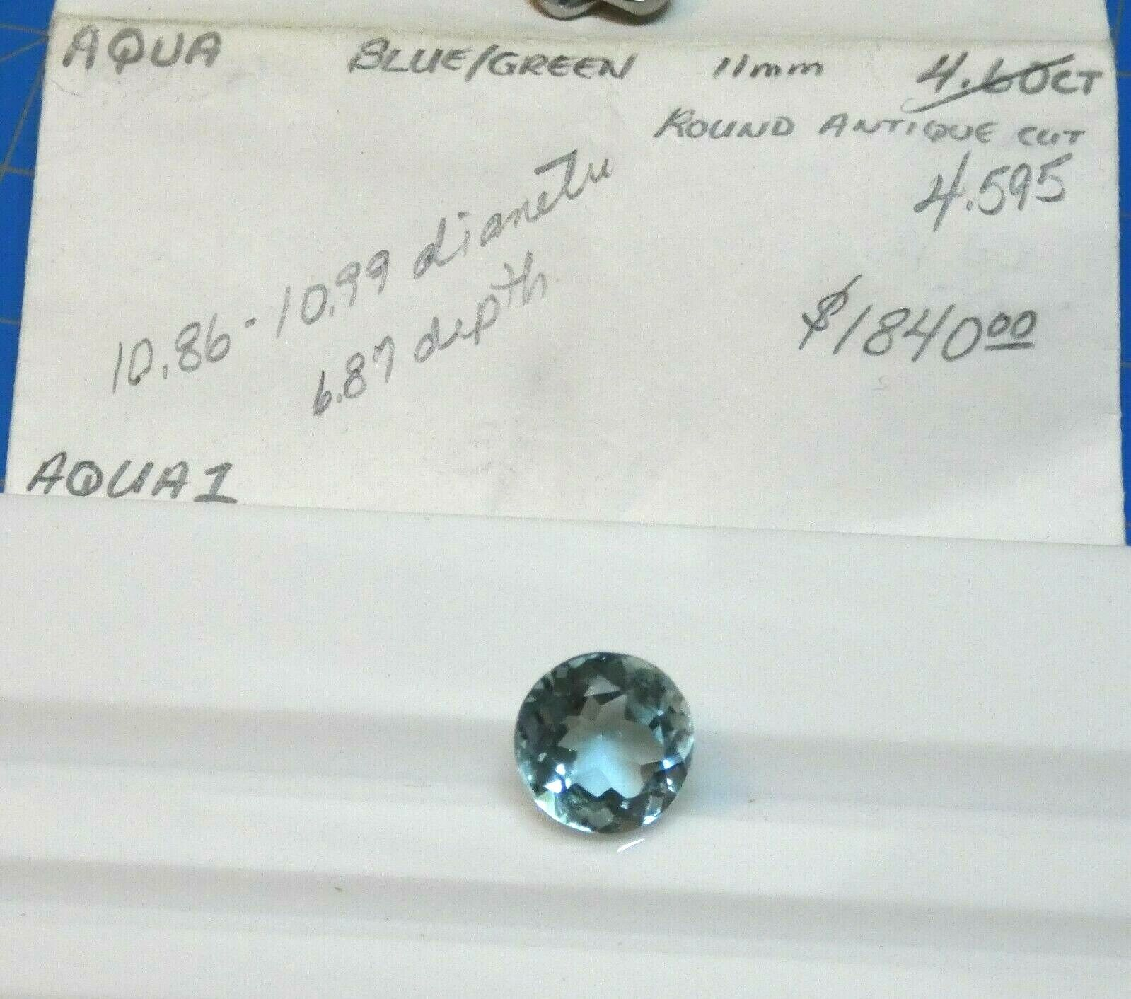 4.60 Carat AQUAMARINE ROUND Old Stock From The 80 s 11mm  - $297.99