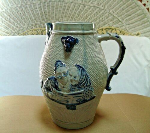 """Prosit"" Stoneware Beer Pitcher with Bulldog Spout, Whites Utica, c1900"