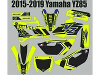 2015 2016 2017  YZ 85 GRAPHICS KIT YAMAHA YZ85 BLACK ROCKSTAR DIRT BIKE DECALS