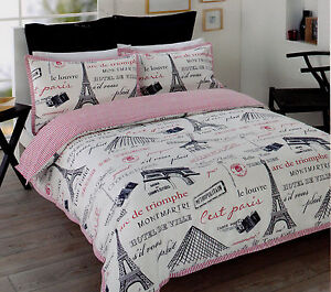 paris eiffel tower white black red king sz quilt cover set new ebay. Black Bedroom Furniture Sets. Home Design Ideas