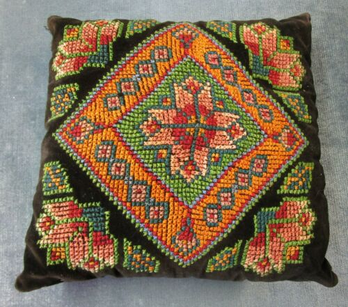 Antique  Cross Stitch Pillow Geometrics Vibrant Colors Dramatic Look!