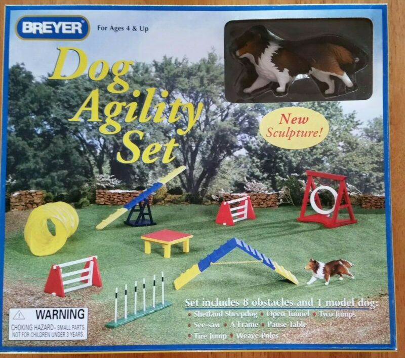 New Breyer Dog Agility Set #1504 with Shetland Sheepdog, Retired. Companion