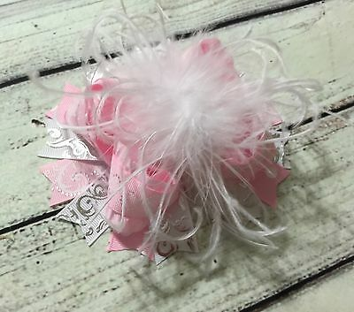 Handmade Pink And White Over The Top Ostrich Feather Boutique Hair - Pink And White Bow