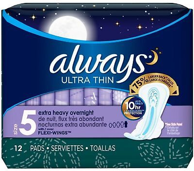 Always Ultra Thin Xtra-Heavy Overnight Pads with Flexi-Wings, Size 5 12 (Always Ultra Thin Overnight Pads With Flexi Wings)