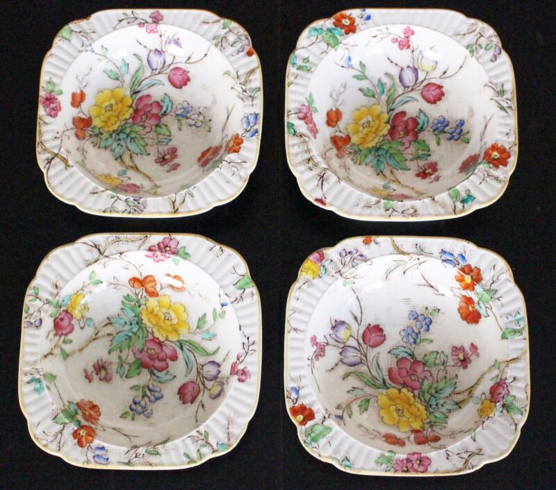 """BOOTHS China BOWLS 4 Square Tapestry Floral Pattern ENGLAND 5.5"""" Antique"""
