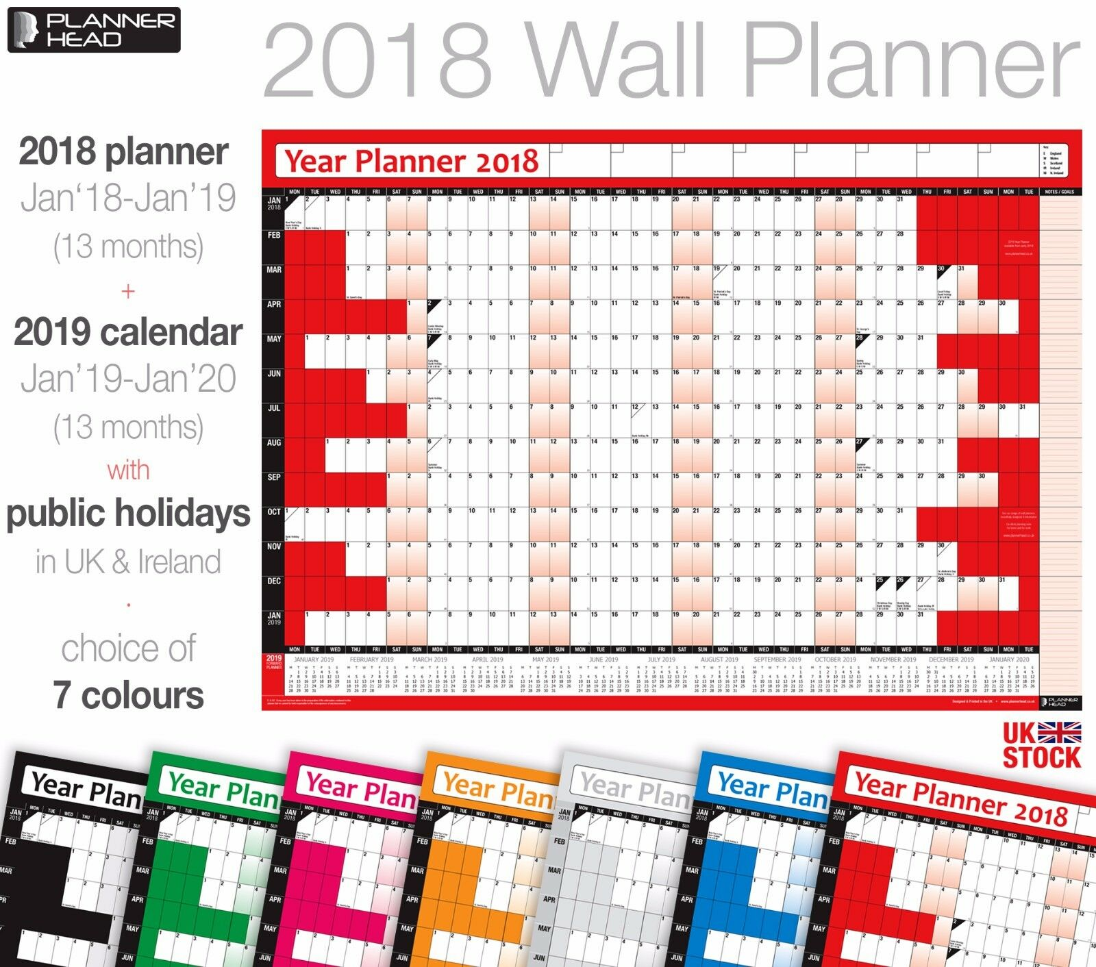2018 Wall Planner Calendar Year Planner Wall Chart with 2019 Forward Planner ✔UK
