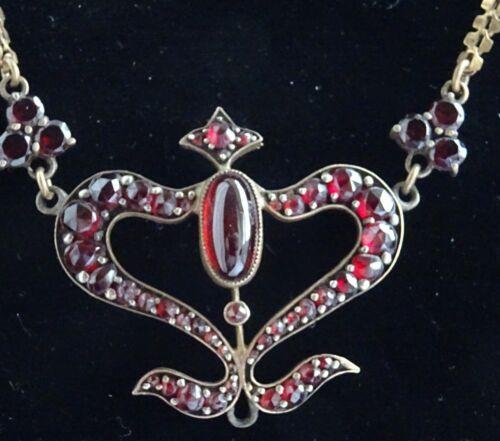Victorian Art Nouveau Gilt Bohemian Garnet Heart Lavalier Necklace