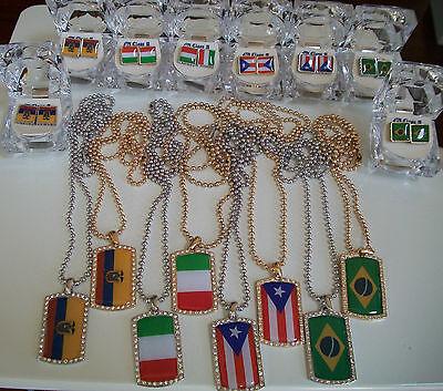 Silver and Gold Finish Country Flag Dog tags with Complementary Chain & Earrings ()