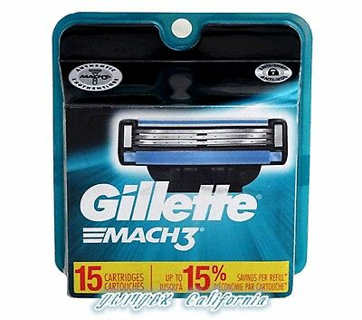 GILLETTE MACH3 Refill Blades 15 Cartridges, Brand New, (#M015)
