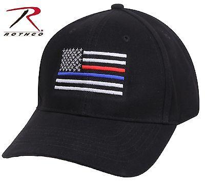 Red Low Profile Adjustable Hat (Black Thin Blue Line & Thin Red Line Adjustable Low Profile Baseball Cap)