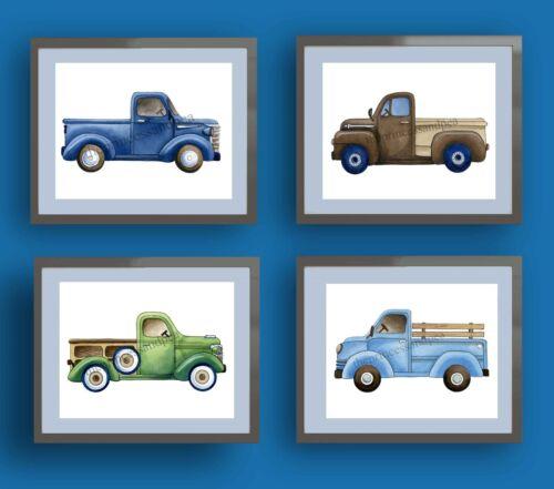 vintage trucks boy nursery wall art print transportation bedding decor picture