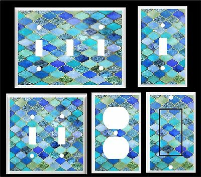 LIGHT SWITCH COVER PLATE BLUE SHADES  MOROCCAN  PATTERN PRINT HOME DECOR