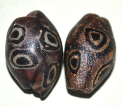Ancient Islamic Purple Glass Eye Beads Excavated In Mali Collected African Trade