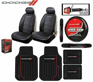 9pc dodge elite seat covers steering wheel cover front. Black Bedroom Furniture Sets. Home Design Ideas