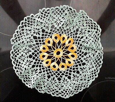 Art Deco Style Towel Two Gold and White Potholders Vintage Kitchen Linen Assortment One Crocheted Doily