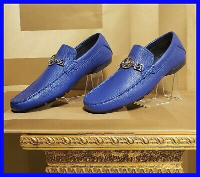 NEW VERSACE BLUE LEATHER DRIVER LOAFER SHOES w/ MEDUSA MEDALLION 41.5 - 8.5